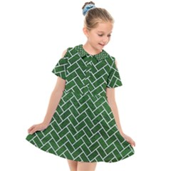 Brick2 White Marble & Green Leather Kids  Short Sleeve Shirt Dress