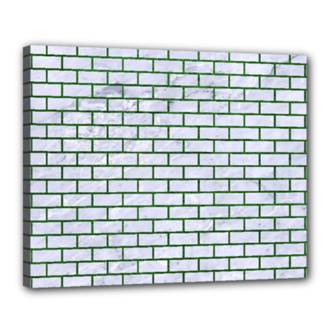 Brick1 White Marble & Green Leather (r) Canvas 20  X 16