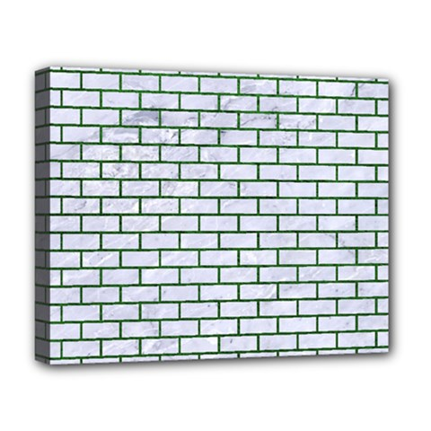 Brick1 White Marble & Green Leather (r) Deluxe Canvas 20  X 16
