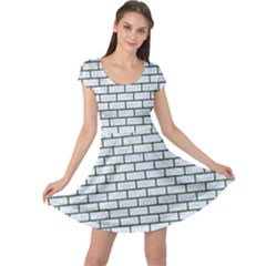 Brick1 White Marble & Green Leather (r) Cap Sleeve Dress