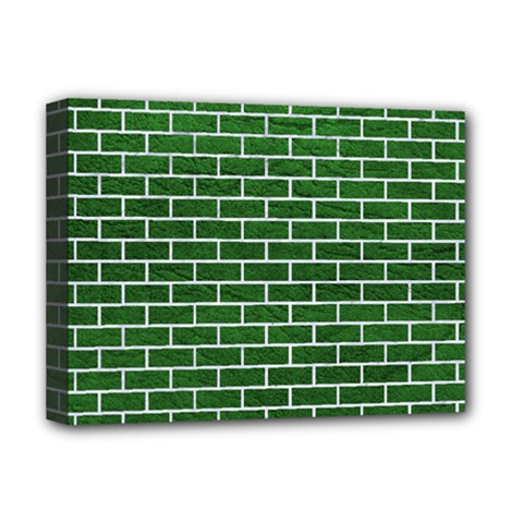 Brick1 White Marble & Green Leather Deluxe Canvas 16  X 12