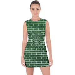 Brick1 White Marble & Green Leather Lace Up Front Bodycon Dress