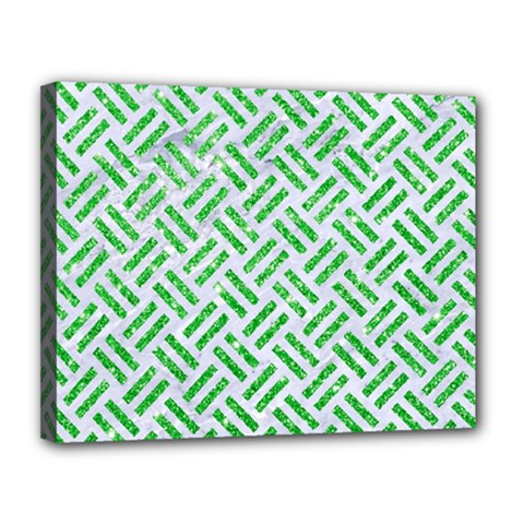Woven2 White Marble & Green Glitter (r) Canvas 14  X 11