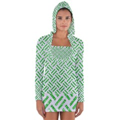 Woven2 White Marble & Green Glitter (r) Long Sleeve Hooded T Shirt