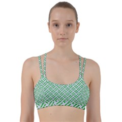 Woven2 White Marble & Green Glitter (r) Line Them Up Sports Bra