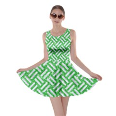 Woven2 White Marble & Green Glitter Skater Dress