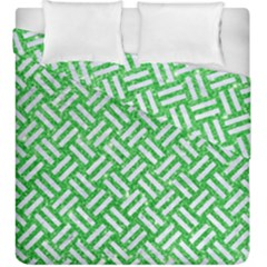 Woven2 White Marble & Green Glitter Duvet Cover Double Side (king Size)