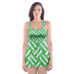 Woven2 White Marble & Green Glitter Skater Dress Swimsuit