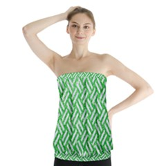 Woven2 White Marble & Green Glitter Strapless Top