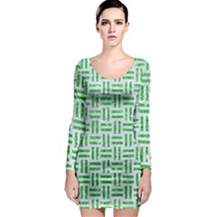 Woven1 White Marble & Green Glitter (r) Long Sleeve Bodycon Dress
