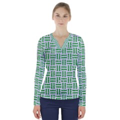 Woven1 White Marble & Green Glitter (r) V Neck Long Sleeve Top
