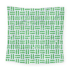Woven1 White Marble & Green Glitter (r) Square Tapestry (large)