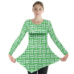 Woven1 White Marble & Green Glitter Long Sleeve Tunic