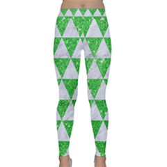 Triangle3 White Marble & Green Glitter Classic Yoga Leggings