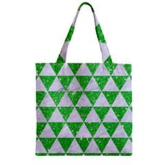Triangle3 White Marble & Green Glitter Zipper Grocery Tote Bag