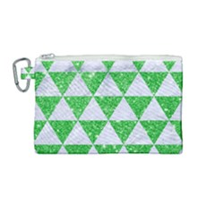 Triangle3 White Marble & Green Glitter Canvas Cosmetic Bag (medium) by trendistuff