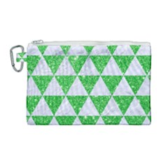 Triangle3 White Marble & Green Glitter Canvas Cosmetic Bag (large)
