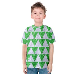 Triangle2 White Marble & Green Glitter Kids  Cotton Tee