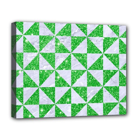 Triangle1 White Marble & Green Glitter Deluxe Canvas 20  X 16