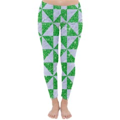 Triangle1 White Marble & Green Glitter Classic Winter Leggings