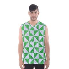 Triangle1 White Marble & Green Glitter Men s Basketball Tank Top