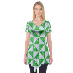Triangle1 White Marble & Green Glitter Short Sleeve Tunic