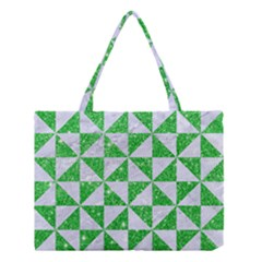 Triangle1 White Marble & Green Glitter Medium Tote Bag