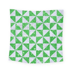 Triangle1 White Marble & Green Glitter Square Tapestry (small) by trendistuff
