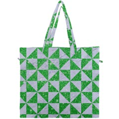 Triangle1 White Marble & Green Glitter Canvas Travel Bag by trendistuff