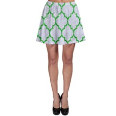 Tile1 (r) White Marble & Green Glitter Skater Skirt