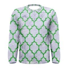 Tile1 (r) White Marble & Green Glitter Men s Long Sleeve Tee