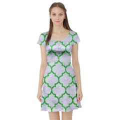 Tile1 (r) White Marble & Green Glitter Short Sleeve Skater Dress