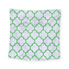 Tile1 (r) White Marble & Green Glitter Square Tapestry (small)
