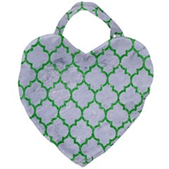 Tile1 (r) White Marble & Green Glitter Giant Heart Shaped Tote
