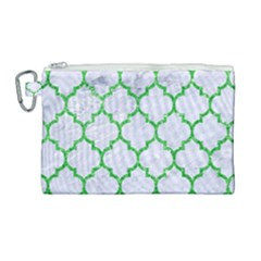 Tile1 (r) White Marble & Green Glitter Canvas Cosmetic Bag (large) by trendistuff