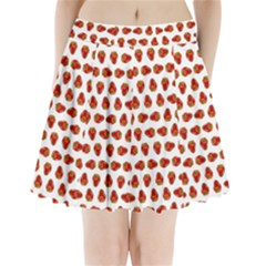 Red Peppers Pattern Pleated Mini Skirt