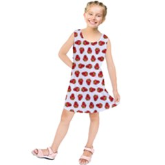 Red Peppers Pattern Kids  Tunic Dress by SuperPatterns