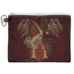 Awesome T Rex Skeleton, Vintage Background Canvas Cosmetic Bag (xxl) by FantasyWorld7