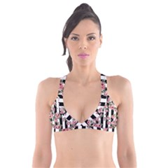 Pink Roses And Butterflies Stripes Plunge Bikini Top