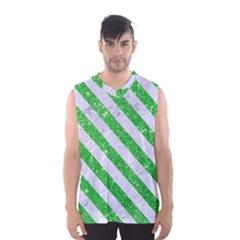 Stripes3 White Marble & Green Glitter Men s Basketball Tank Top