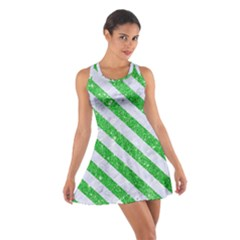 Stripes3 White Marble & Green Glitter Cotton Racerback Dress