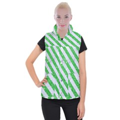 Stripes3 White Marble & Green Glitter Women s Button Up Vest