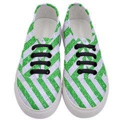 Stripes3 White Marble & Green Glitter Women s Classic Low Top Sneakers