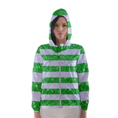 Stripes2 White Marble & Green Glitter Hooded Windbreaker (women)