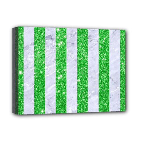 Stripes1 White Marble & Green Glitter Deluxe Canvas 16  X 12