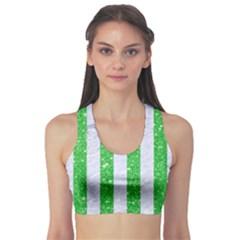 Stripes1 White Marble & Green Glitter Sports Bra