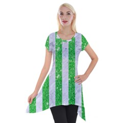 Stripes1 White Marble & Green Glitter Short Sleeve Side Drop Tunic