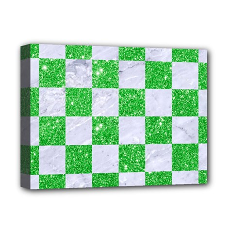 Square1 White Marble & Green Glitter Deluxe Canvas 16  X 12