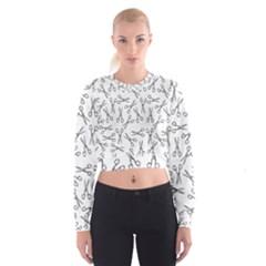 Scissors Pattern Cropped Sweatshirt