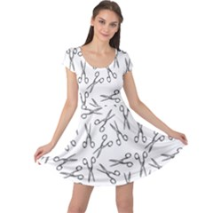 Scissors Pattern Cap Sleeve Dress